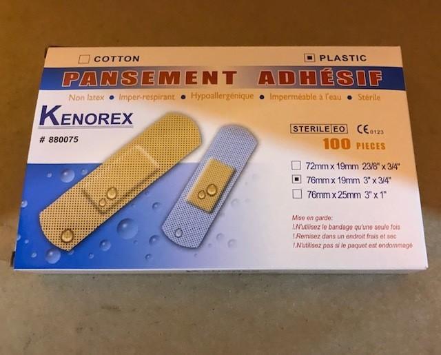 "Band-Aids, Plastic, Plain Pads, 3/4"" x 3"" Waterproof, 100/Box 24 bxs per case"