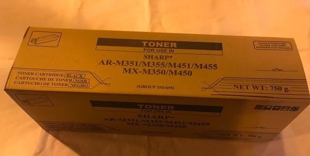 TONER, BLACK, SHARP COPIER AR455NT FOR ARM355 & 455 & MXM350 & MXM450