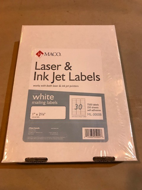 """Labels, Address, 1"""" x 2-5/8"""", White, E-Z Peel, Self-Adhesive, 7500 labrls/box, 250 sheets, 30 labels/sheet for use in Laser Printers"""