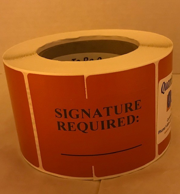 """Labels, Shipping, Signature Required, 3"""" x 2"""" Red, 1000/roll, 7 rl/case"""