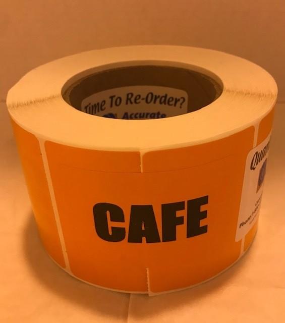 "Labels, Shipping, Cafe, 3"" x 2"" Orange, 1000/roll, 7 rl/case"