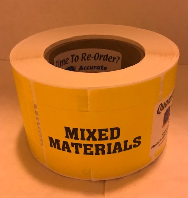 """Labels, Shipping, Mixed Materials, 3"""" x 2"""" Yellow, 1000/roll, 7 rl/case"""