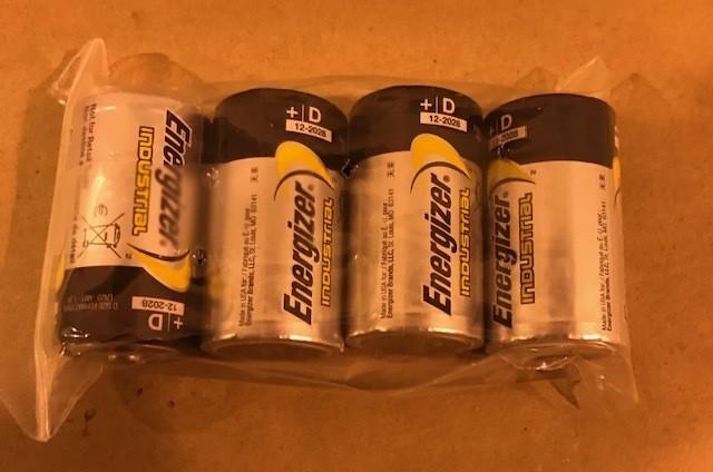 "Battery, Alkaline, Size ""D"" 1.5 Volt 4 Batteries Per Pack."