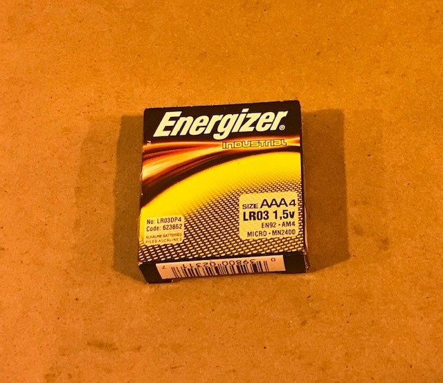 "Battery,  Size ""AAA"", Alkaline,1.5 Volt 4 Batteries Per Pack"