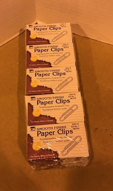 Paper Clips, Gem, Standard #1, non-rust, 100/box, 10 boxes/pkg, must be boxed or wrapped.