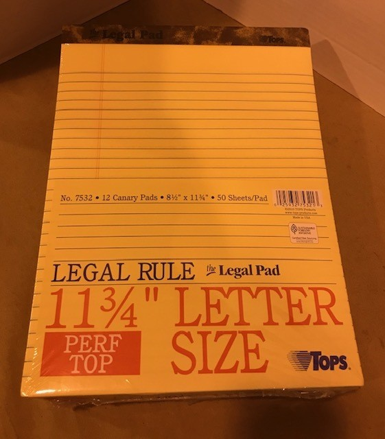 Pads, Letter size, Legal Ruled, yellow head strip style, with clipboard backing, Perforated sheets, 50 sheets/pad, 12/pack.