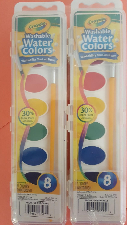 Paint, Washable watercolor set, oval, 8 colors/set 24 per case