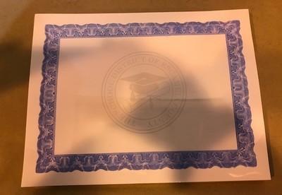 Certificate, Award, Blue Boarder, 100/Pack