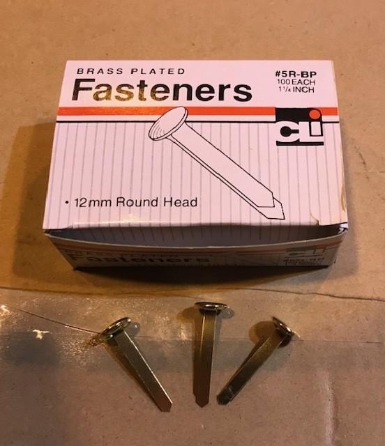 """Fasteners, Paper, Round Head, Brass, #5, 1-1/4"""" shank, 100/box"""