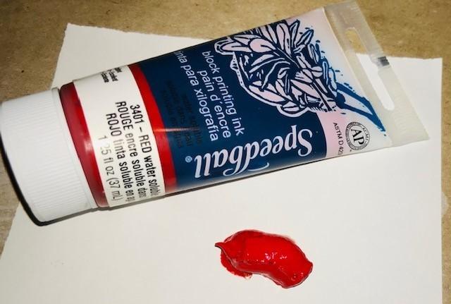 "Ink-Block Printing, Red water base, 1"" x 4"" tube, 1.25 oz"