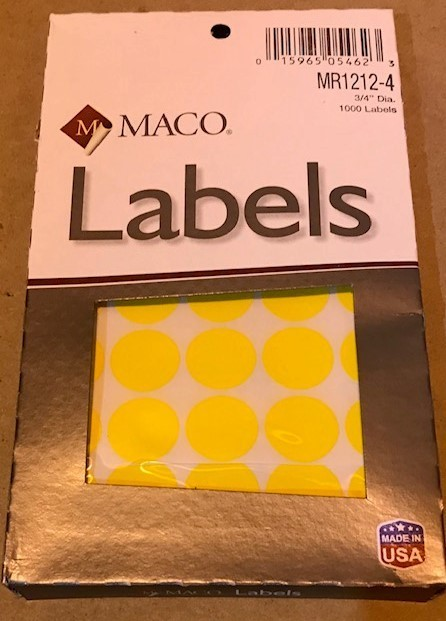 "Label, Dot, Yellow, 3/4"" diameter, 1000/Box"