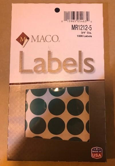 "Label, Dot, Green, 3/4"" diameter, 1000/Box"