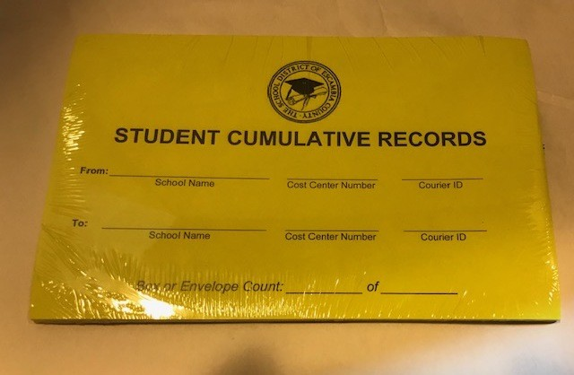 Transfer Labels, Green, Student Records, Elementary to Middle School