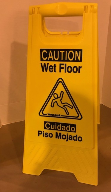 "WET FLOOR SIGN, YELLOW W/BLACK LETTERS, 25"" HIGH 6/CASE"