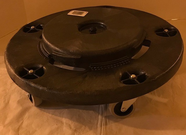 """DOLLY, GARBAGE CAN, 3"""" CASTERS WHITE #7704 FITS 32 & 20 GAL CANS"""
