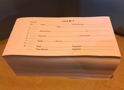 Privilege Permit, Hall Pass/Tardy Slip 500 Sheets/Pad