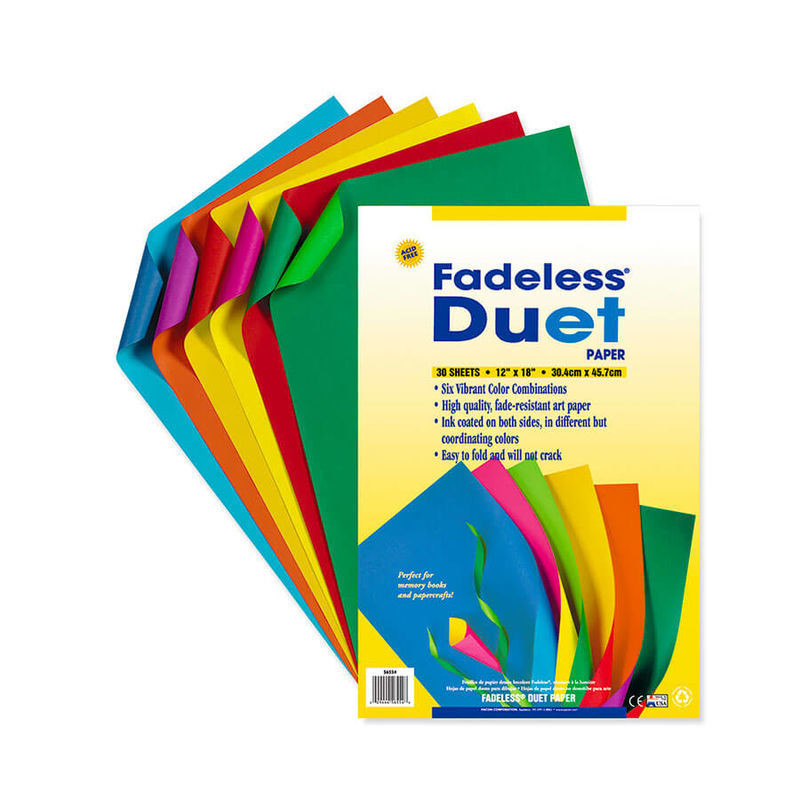 "Paper, Fadeless, Duet, 12""x18"", Containing six (6) assorted colors per package, 30 sheets/package"