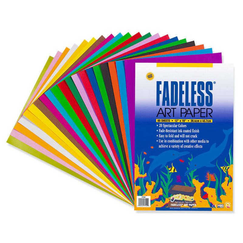 """Paper, Fadeless, 12""""x18"""", 50#, All purpose, Containing twenty (20) assorted colors per package, 60 sheets/package"""