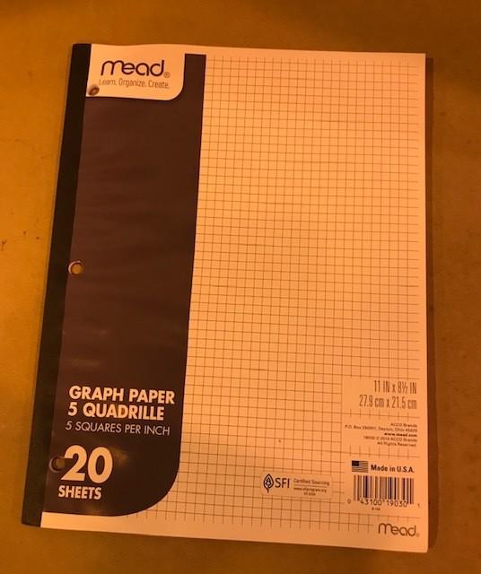 Paper, Graph,20 Sheets/Pad, Letter, 8-1/2 X 11 48 pads per case