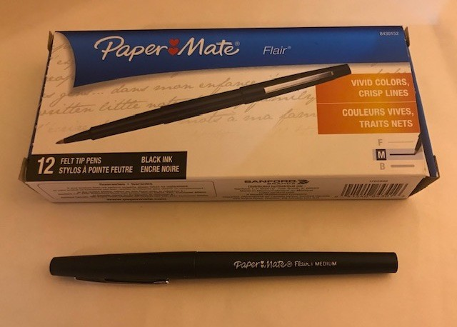 Pen, Black Felt Tip, Fine Point