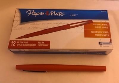 Pen, Red Felt Tip, Fine Point
