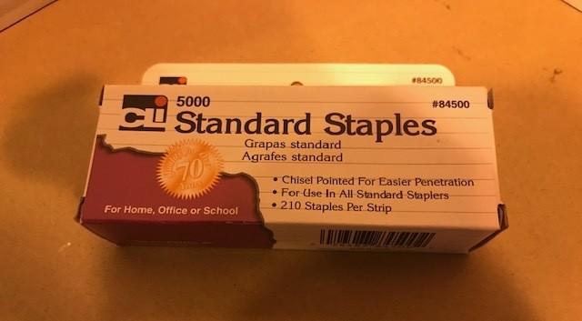 Staples, standard, chisel point, 5000/box. (FOR DESK TYPE) 100 PER CASE