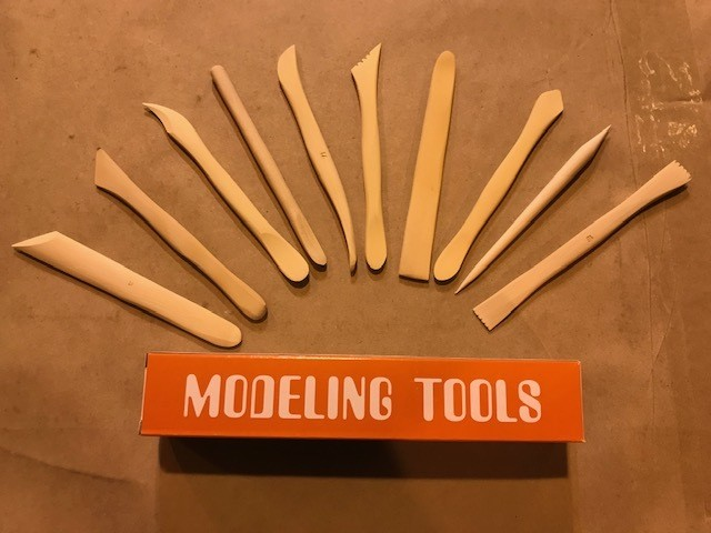 """Clay Tools, 10/set, to 12, 6"""" long, handmade, hand-carved, boxwood"""