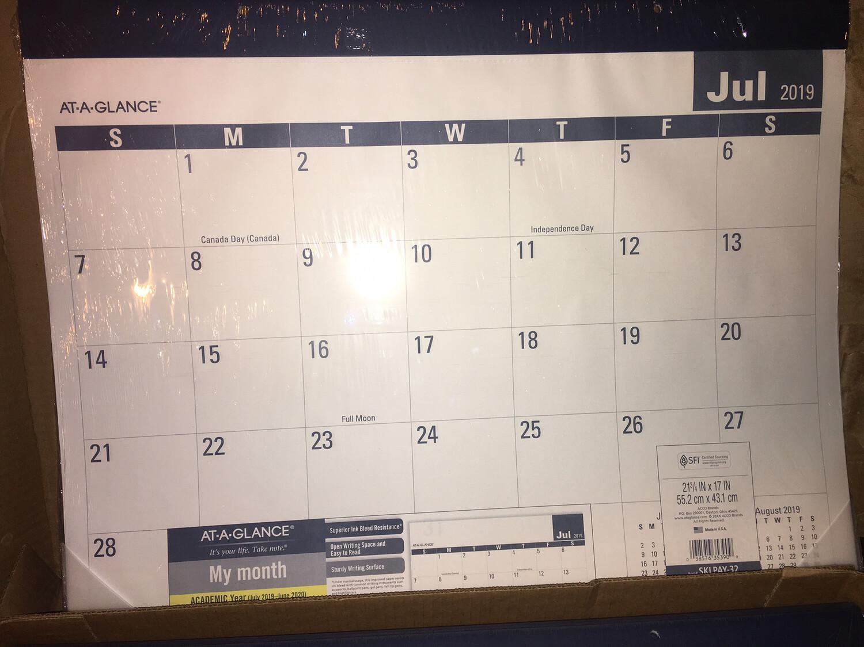 "Calendar, Desk Pad, 17"" X 22"" JULY 2019 To June 2020 ACADEMIC SCHOOL YEAR"