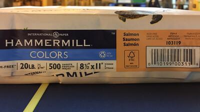 Salmon, Duplicating Paper, Multi-Purpose, 20#, 8-1/2x11, #4 Sulphite for Copiers