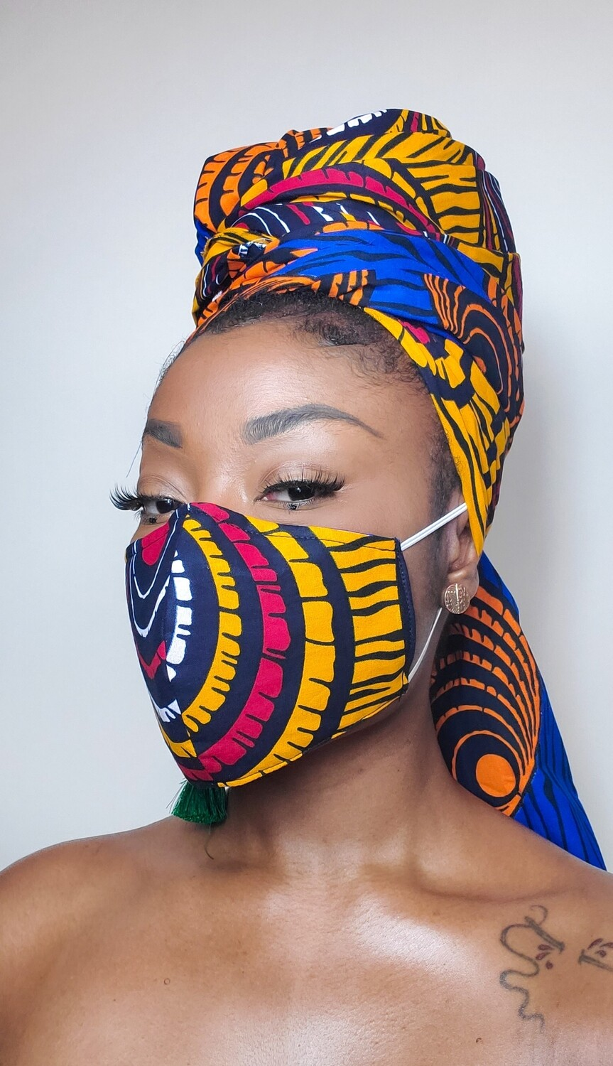 Two-Faced (Dual Tone Headwrap & Reversible Mask Set)