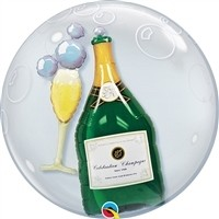 24 inch DECO BUBBLE WINE BOTTLE AND GLASS