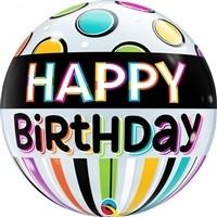 22 inch BUBBLES Happy Birthday Black Band & Dots