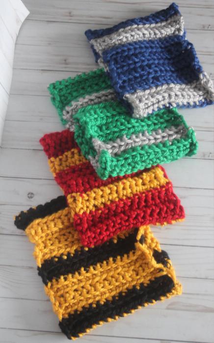 Hogwarts house color ribbed cowl scarves