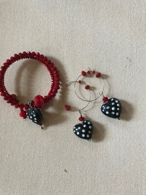 Red Beaded Hearts - Bracelet and Earring set - VDesigns
