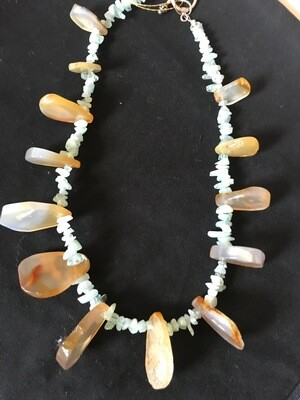 Agate - Quartz chips - Sterling Silver Necklace - VDesigns