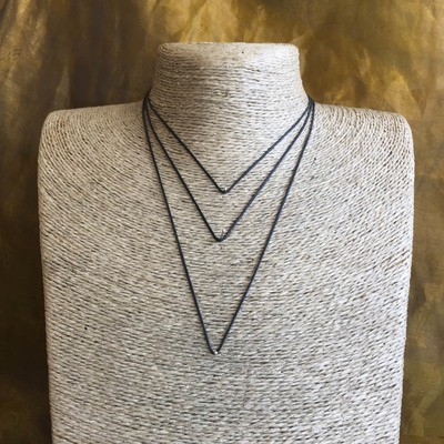Black Necklace Thong - 50cm