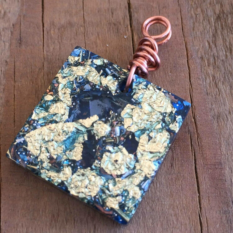 Blue Orgonite Square Mini Pendant