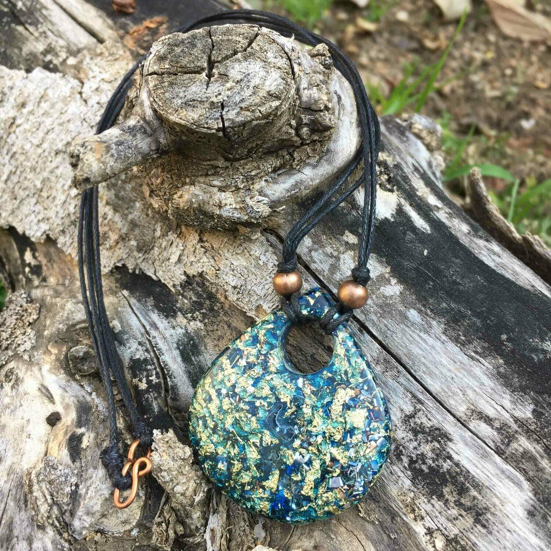 Orgonite Teardrop Pendant - Blue & Gold Leaf