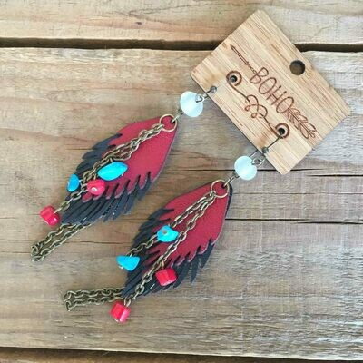 BOHO Feather Leather Earrings Style 2