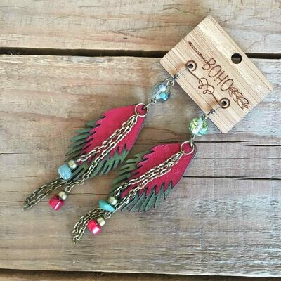 BOHO Feather Leather Earrings Style 3