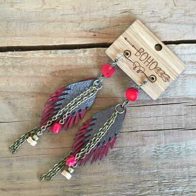 BOHO Feather Leather Earrings Style 4