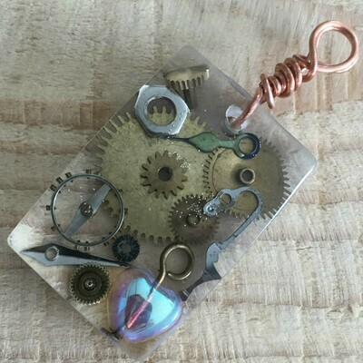 Steampunk Rectangular Resin Pendant