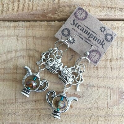 Alice in Wonderland - Antique Silver Crystal Teapot Earrings