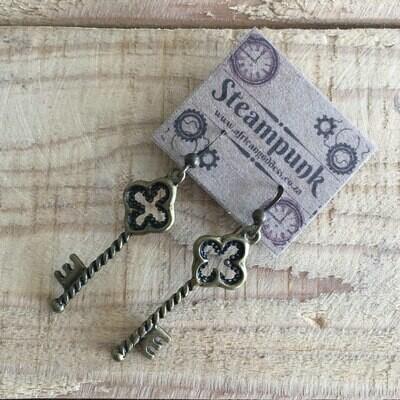 Alice in Wonderland - Antique Brass Key Earrings