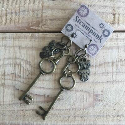 Alice in Wonderland - Antique Brass Key & Owl Earrings