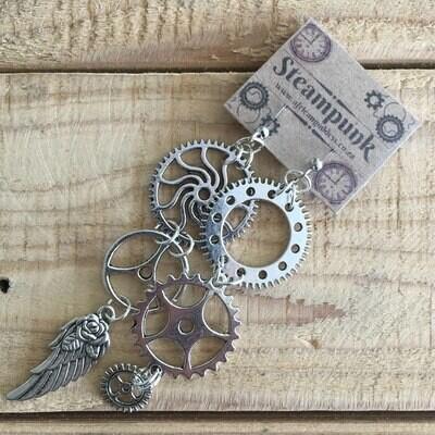Vintage Gear Earrings - Antique Silver