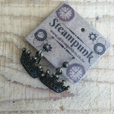Alice in Wonderland - Antique Brass Crown Earrings