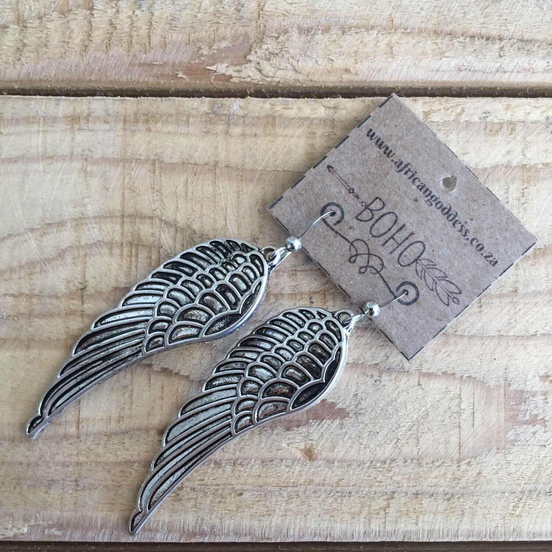 BOHO Antique Silver Wing Earrings