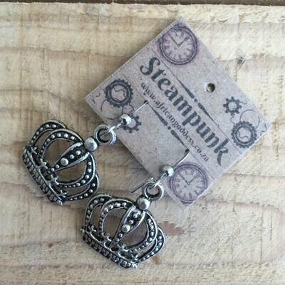 Alice in Wonderland - Antique Silver Crown Earrings