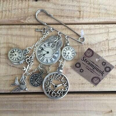 Steampunk Jacket Pin - Antique Silver
